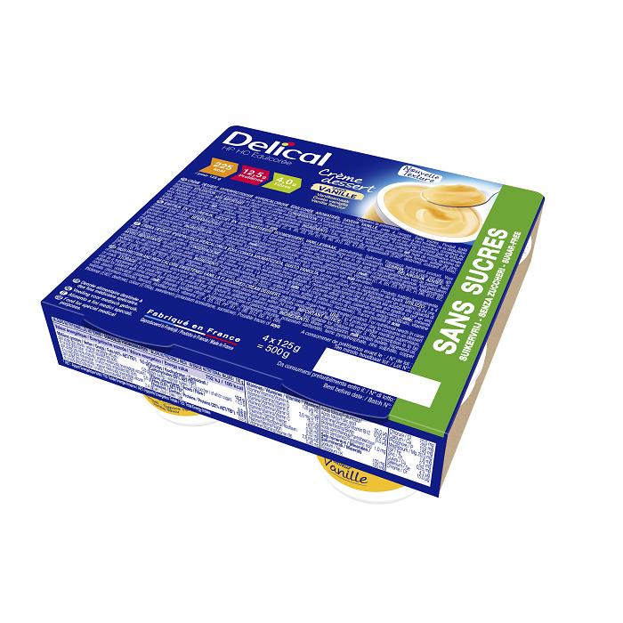 Image of Delical HP-HC Dessertcrème Zonder Suiker Vanille 4x124g