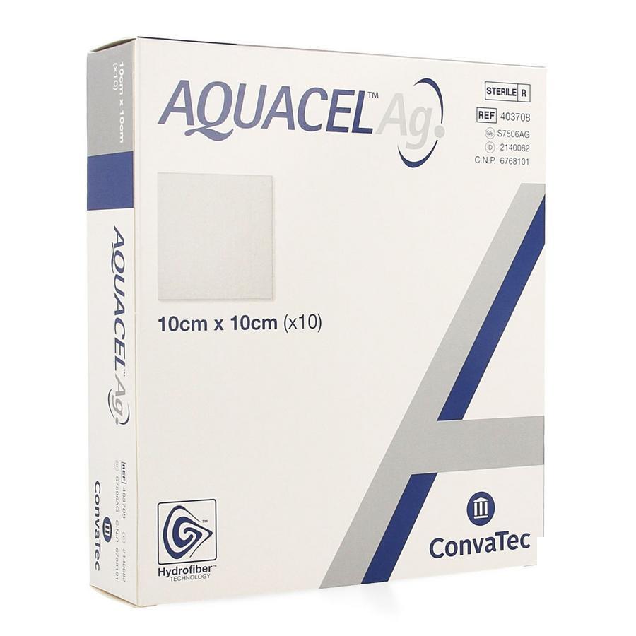 Image of Aquacel Ag Verband Hydrofiber Steriel 10cm x 10cm 10 stuks