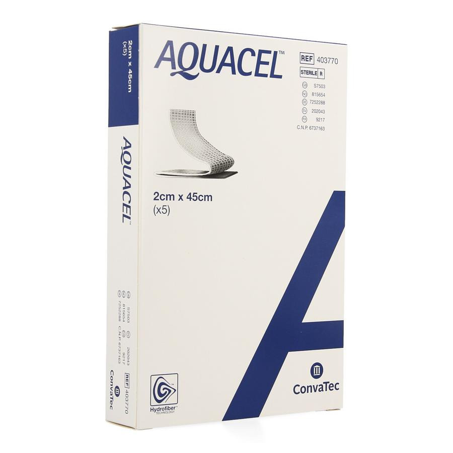 Image of Aquacel Verband Hydrofiber + Versterking 2x45cm 5 Stuks