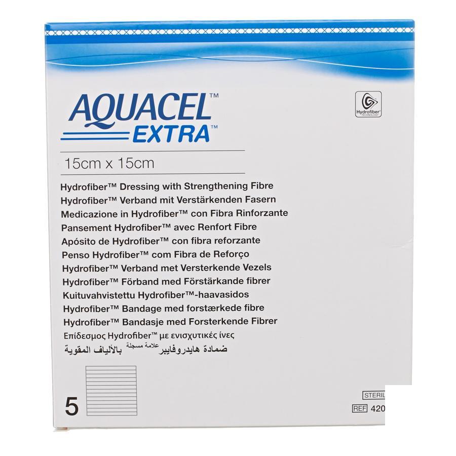 Image of Aquacel Extra Verband Hydrofiber + Versterking 15x15cm 5 Stuks