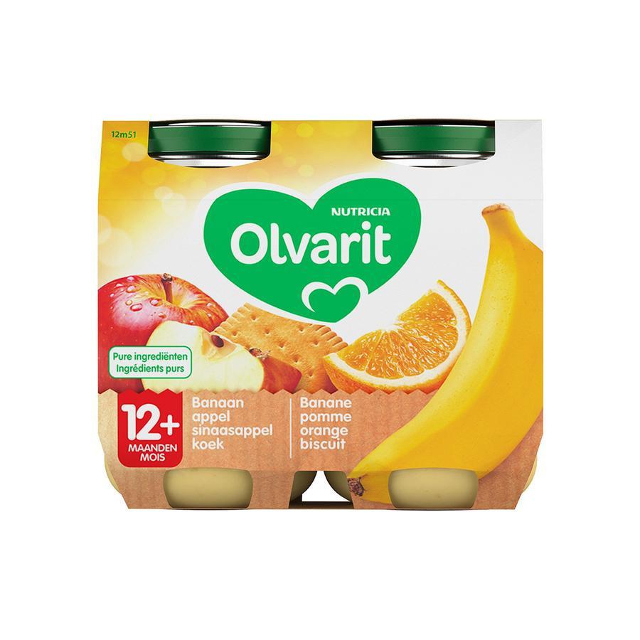 Image of Olvarit Fruitpap Banaan/ Appel/ Sinaasappel/ Koek 12M+ 2x200g