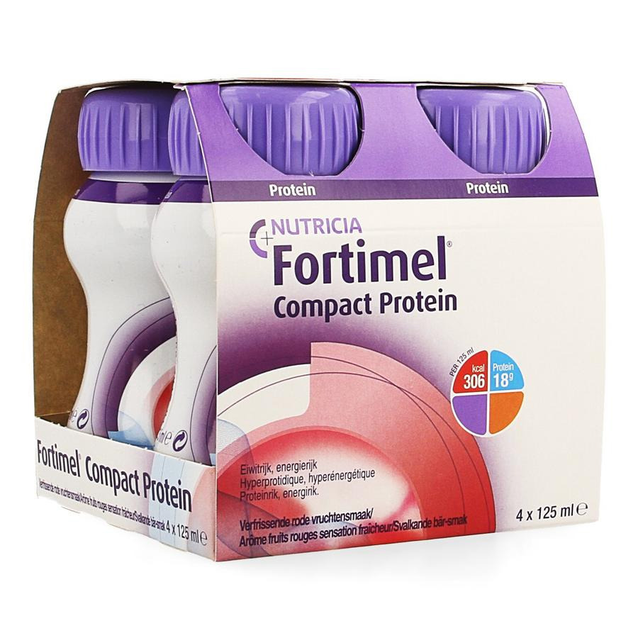 Image of Fortimel Compact Protein Verfrissende Rode Vruchten 4x125ml