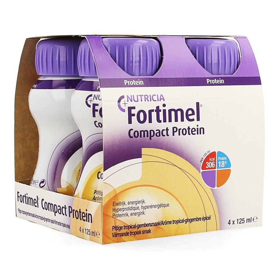 Image of Fortimel Compact Protein Pittige Tropical-Gember 4x125ml