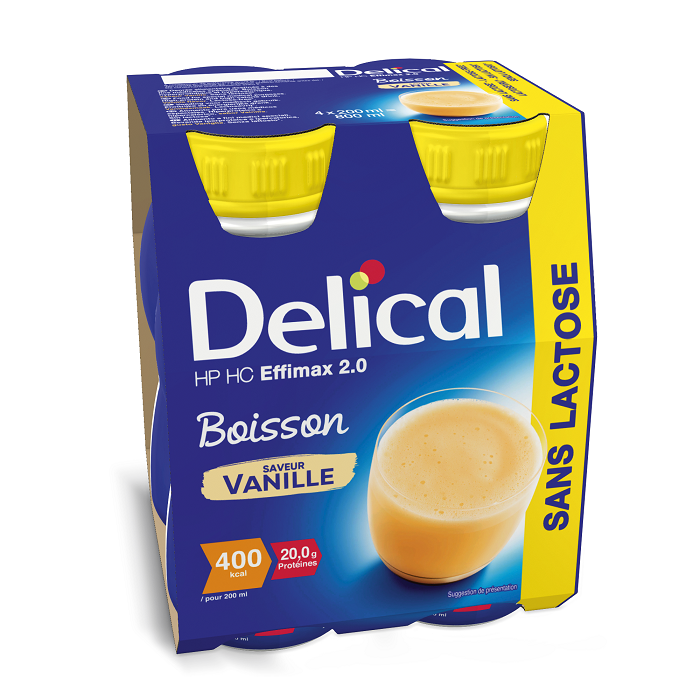 Image of Delical HP-HC Effimax 2.0 Drink Zonder Lactose Vanille 4x200ml