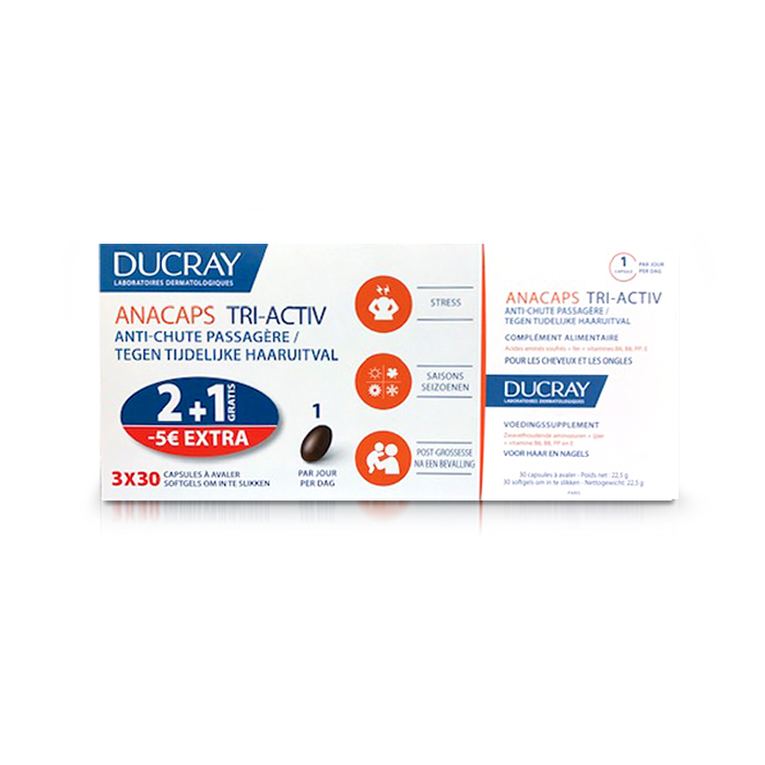 Image of Ducray Anacaps Tri-Activ Promo Tripack 2+1 Gratis + Promo - €5