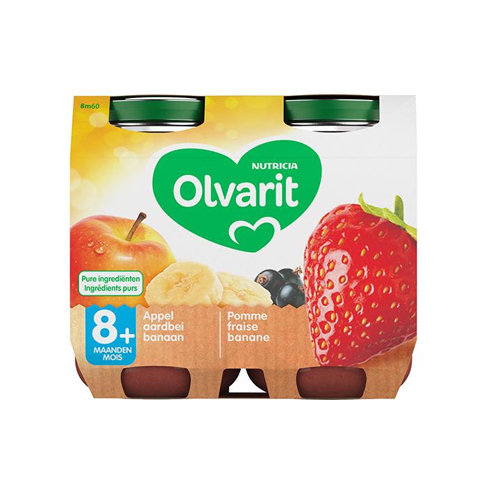 Image of Olvarit Fruitpap Appel/ Aardbei/ Banaan 8M+ 2x200g