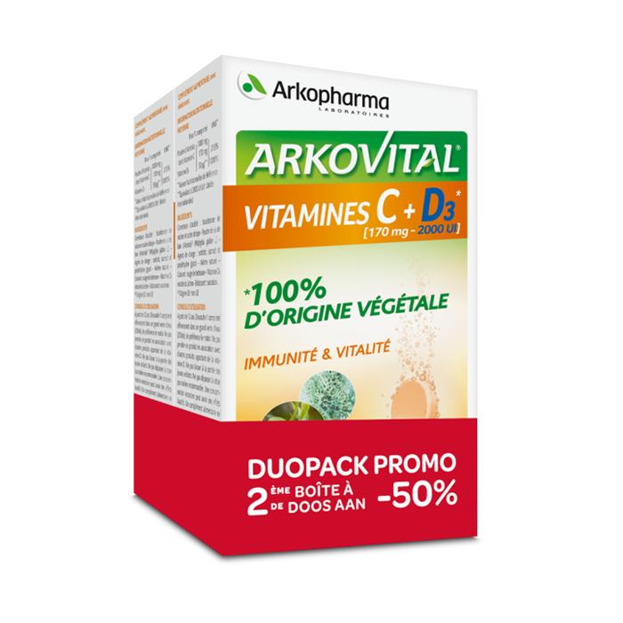 Image of Arkovital Vitamines C + D3 Duopack 2x20 Bruistabletten Promo 2de -50%
