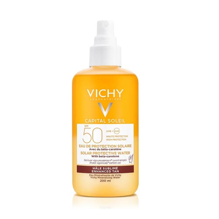 Image of Vichy Capital Soleil Zonbeschermend Water Optimale Bruine Teint SPF50 200ml