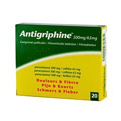 Antigriphine 500mg Douleurs & Fièvre 20 Comprimés