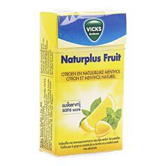 Vicks Naturplus Fruit Pastilles pour la Gorge Citron & Menthol Naturel Boîte 40g