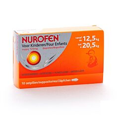 Nurofen Enfants 12,5kg à 20,5kg Suppositoires 125mg 10 Pièces