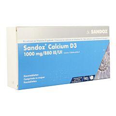 Sandoz Calcium D3 1000mg/880IE/UI Goût Orange 90 Comprimés à Croquer