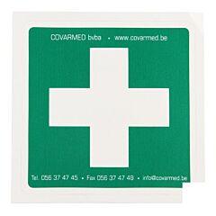 Sticker Groen Wit Kruis EHBO 10x10cm