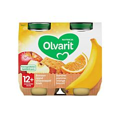 Olvarit Banane-Pomme-Orange-Biscuit 12m+ 2x200g