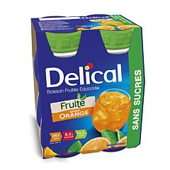 Delical Boisson Fruitée Edulcorée Sans Sucres Orange Bouteille 4x200ml