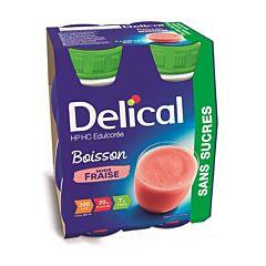Delical Boisson HP-HC Edulcorée Sans Sucres Fraise Bouteille 4x200ml