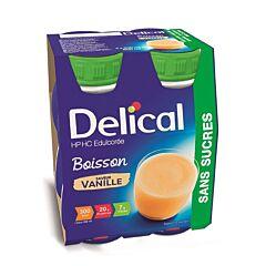 Delical Boisson HP-HC Edulcorée Sans Sucres Vanille Bouteille 4x200ml