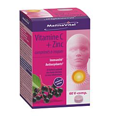 MannaVital Vitamine C + Zinc 60 Comprimés à Croquer