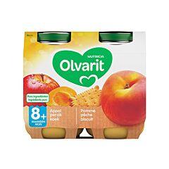 Olvarit Pomme-Pêche-Biscuit 8m+ 2x200g