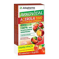 Arkopharma Arkovital Acerola 1000 Vitamine C Naturelle PROMO 45 Comprimés + 15 GRATUITS