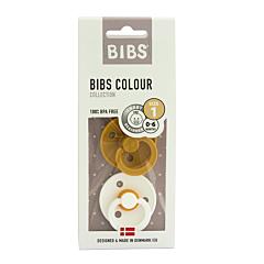 Bibs Sucettes 0-6m Mustard/White 2 Pièces