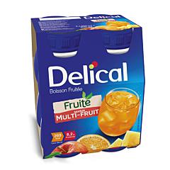Delical Boisson Fruitée Multi-Fruits Bouteille 4x200ml