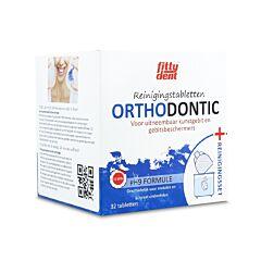 Fittydent Orthodontic Comprimés Nettoyants 32 Pièces + Set de Nettoyage