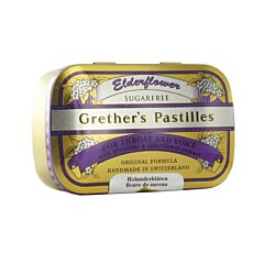 Grethers Pastilles Elderflower Fleurs de Sureau Sans Sucre Boîte 110g