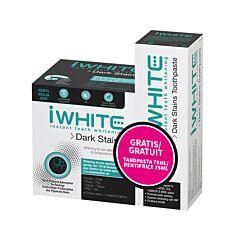 iWhite Dark Stains Kit de Blanchiment Dentaire 10 Gouttières Pré-Remplies + Dentifrice Tube 75ml GRATUIT