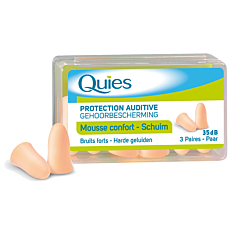Quies Protection Auditive Mousse Confort Chair Bruits Forts 35dB 3 Paires