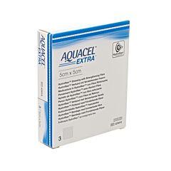 Aquacel Extra Pansements Hydrofiber avec Renfort Fibre 5cmx5cm 3 Pièces