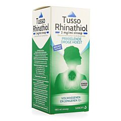 Sanofi Tusso Rhinathiol 2mg/ml Sirop Sans Sucre Toux Sèche et Irritative Flacon 180ml