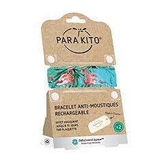 Parakito Bracelet Blue Flamingo Anti-Moustiques + 2 Recharges
