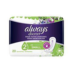 Always Discreet Serviettes Fuites Urinaires Small 20 Pièces