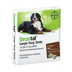 Drontal Dog Tasty Bone 525/504/175mg Grands Chiens Vermifuge 2 Comprimés