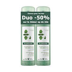 Klorane Shampooing Sec Séboréducteur à lOrtie Cheveux Gras Spray 2x150ml PACK PROMO 2ème -50%