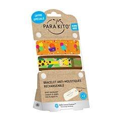 Parakito Kids/ Teens Anti-Muggen Armband Giraf/ Ijsjes 1+1 + 2 Navullingen