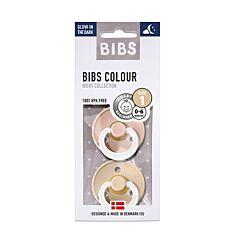 Bibs Glow In The Dark Fopspeen Duo Vanilla/Blush 0-6M 2 Stuks