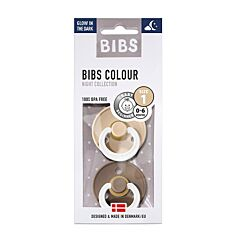 Bibs Glow In The Dark Fopspeen Duo Vanilla/Oak 0-6M 2 Stuks