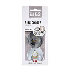 Bibs Fopspeen Duo Iron/Baby Blue 6-18M 2 stuks