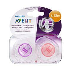 Philips Avent Fopspeen Transparant Silicone 6-18M 2 Stuks