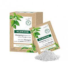 Klorane 2-in-1 Shampoomasker Biologische Brandnetel/ Kleipoeder 8x3g Zakjes