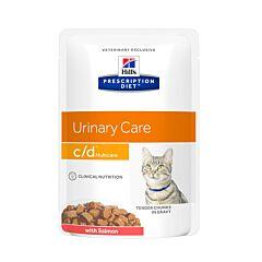 Hills Prescription Diet Urinary Care C/D Kattenvoer Zalm Maaltijdzakje 12x85g