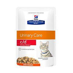 Hills Prescription Diet Urinary Stress C/D Kattenvoer Kip Maaltijdzakje 12x85g
