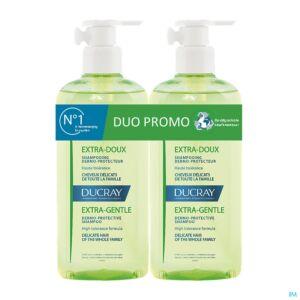 Ducray Extra-Doux Shampooing Dermo-Protecteur Cheveux Délicats Flacon Pompe PROMO DUO 2x400ml