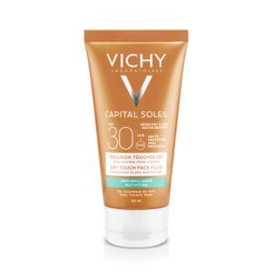 Vichy Capital Soleil Emulsion Anti-Brillance Toucher Sec Peau Sensible Mixte à Grasse IP30 Tube 50ml