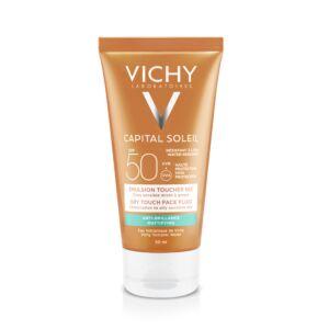 Vichy Capital Soleil Emulsion Anti-Brillance Toucher Sec Peau Sensible Mixte à Grasse IP50 Tube 50ml