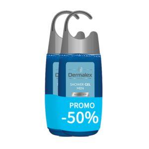 Dermalex Gel Douche Homme Peau Normale Flacon PROMO 2x250ml 2ème -50%