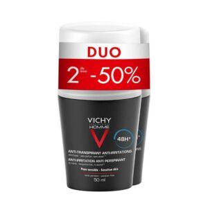 Vichy Homme Déodorant Anti-Transpirant 48h Peau Sensible Roll-On PROMO Duo 2x50ml