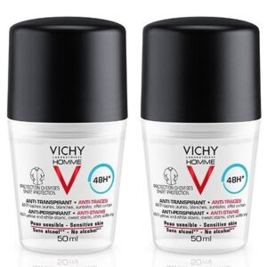 Vichy Homme Déodorant Anti-Transpirant Anti-Traces 48h Roll-On Duo 2x50ml PROMO 2ème -50%